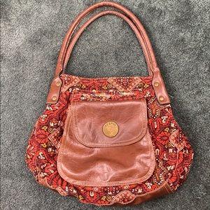 Axcess Paisley Corduroy Leather Handbag Purse